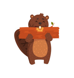 happy little beaver eating piece of wood cartoon vector image vector image