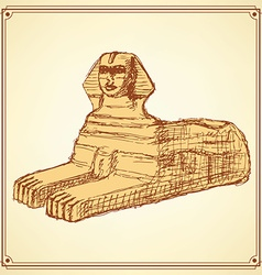 Sketch Sphinx monument in vintage style vector image vector image