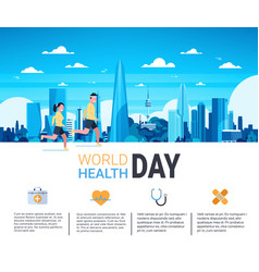world health day infographic banner with man and vector image
