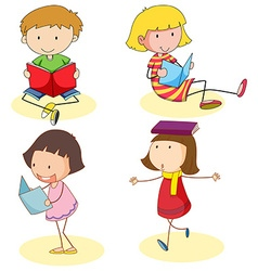 Boy and girls reading book vector image