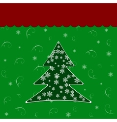 christmas tree over green background vector image