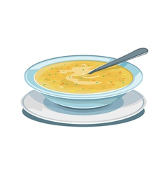 Dinner plate with soup vector image