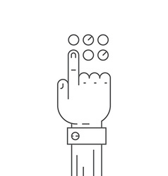 Hand and button vector image