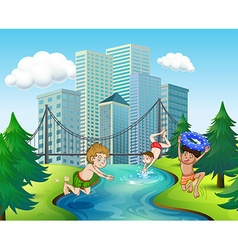 Three boys diving in the river vector image