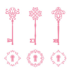vintage keys and keyholes set in pink color vector image