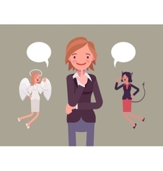 Angel and devil hovering over a thinking woman vector