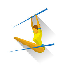 artistic gymnastic - girl on uneven bars vector image