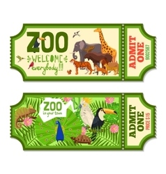 Colorful Zoo Tickets With Tropical Background vector image vector image