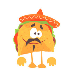 funny cartoon mexican taco character with meat and vector image vector image