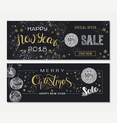 merry christmas and new year sale advertising vector image vector image