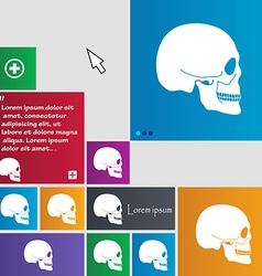 Skull icon sign buttons modern interface website vector