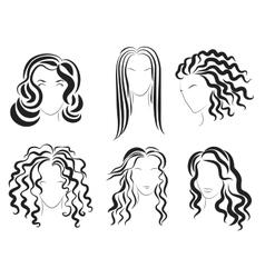 Women face hair style silhouette logo vector image vector image
