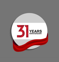 31 years anniversary design in circle red ribbon vector
