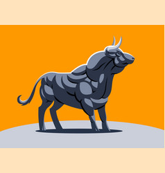 A muscular bull on the orange background vector