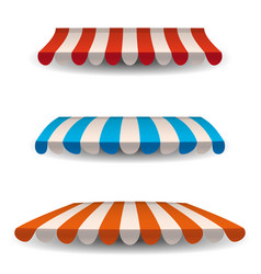 a set of striped red blue orange white awnings vector image