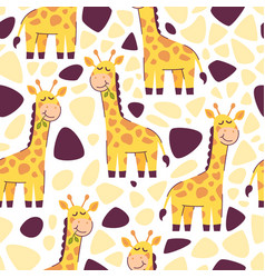 adorable giraffe seamless pattern vector image