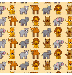 africa animals safari wildlife seamless pattern vector image