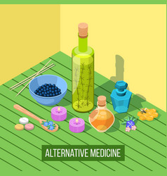 Alternative medicine isometric composition vector