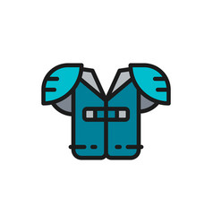 American football chest protection flat vector