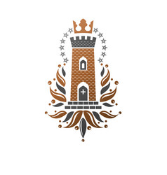 Ancient fort emblem heraldic coat arms vector