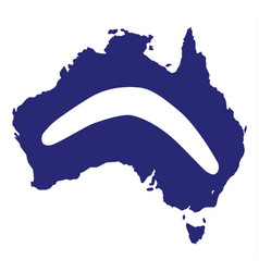 Australia silhouette with boomerang vector