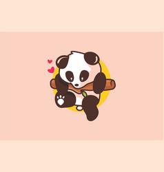 baby cute panda logo vector image