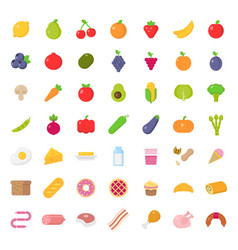 big icons set food in flat style vector image