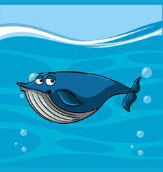 Blue whale swims under the sea vector