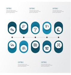 Building outline icons set collection of wall vector