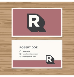 Business card letter R vector