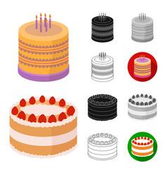 Cake and dessert cartoonblackflatmonochrome vector