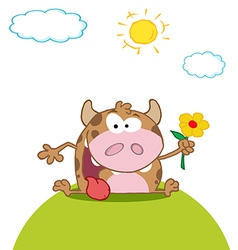 calf cartoon character with flower vector image