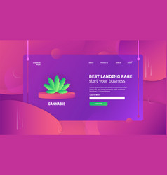 Cannabis leaf element in template background is vector