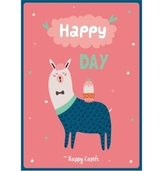 Card with funny Lama boy vector