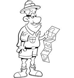 cartoon explorer looking at a map vector image