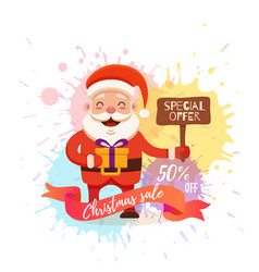 Cartoon santa claus for your christmas and new vector