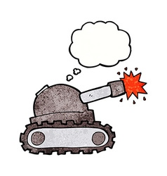 Cartoon tank with thought bubble vector
