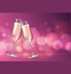 Champagne glass on holiday pink background vector