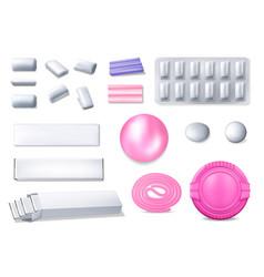 Chewing gum realistic 3d bubble gum icons vector