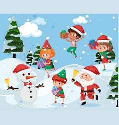 children playing outside in snow vector image
