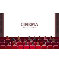 Cinema movie time people sitting in seats at hall vector
