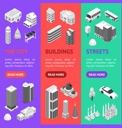 city map concept banner vecrtical set 3d isometric vector image