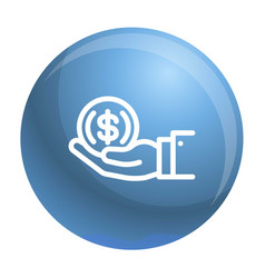 Coin in hand icon outline style vector