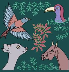 Collection animals birds and plants vector