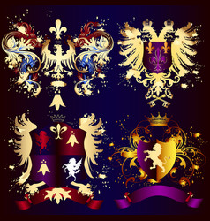 collection of heraldic shields with golden swirls vector image