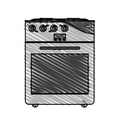 color crayon stripe cartoon stove gas with oven vector image
