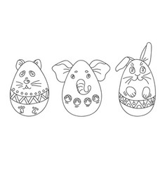 coloring set with easter eggs in a shape of vector image