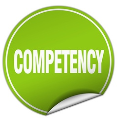 Competency round green sticker isolated on white vector