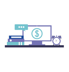 computer monitor with symbol dollar and set icons vector image