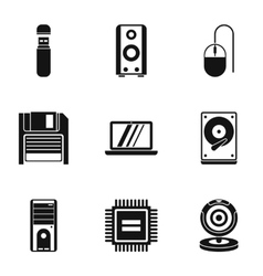 Computer setup icons set simple style vector